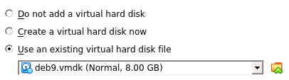 Existing virtual hard disk