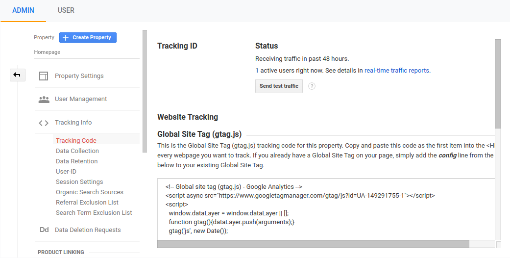Tracking code for the Google Analytics account